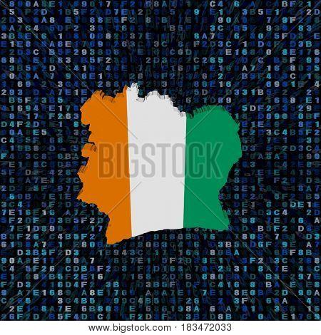 Ivory Coast map flag on hex code 3d illustration
