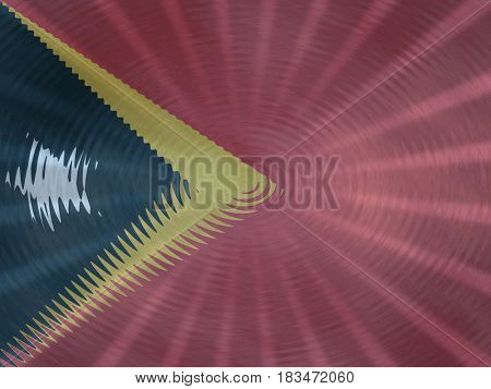 East Timor flag background with ripples and rays illustration