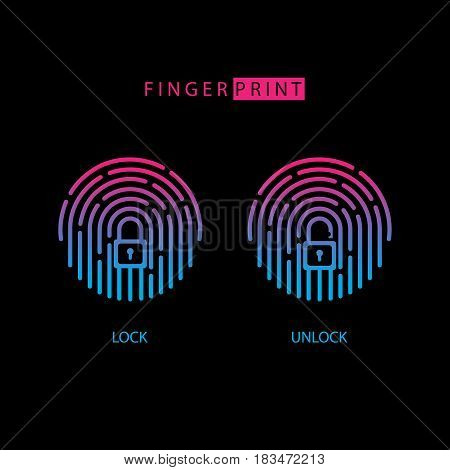 Fingerprint touch ID icon with padlock sign. Lock and unlock. Concept personal access protection, password, blocking, security. Vector illustration.