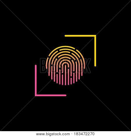 Fingerprint touch ID technology icon. Vector illustration.