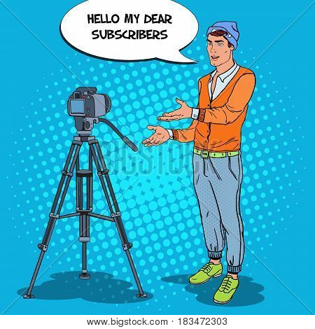Stylish Man Blogger Recording Video Vlog. Pop Art vector illustration