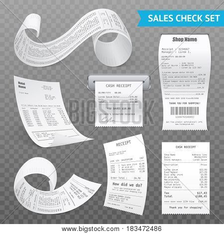 Cash register sales receipts printed on thermal rolled paper realistic images collection on transparent background vector illustrations