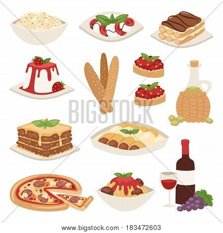 Cartoon italy food cuisine delicious ingredient homemade cooking fresh traditional lunch vector illustration. Dish plate sauce vegetarian cooked diet healthy snack.