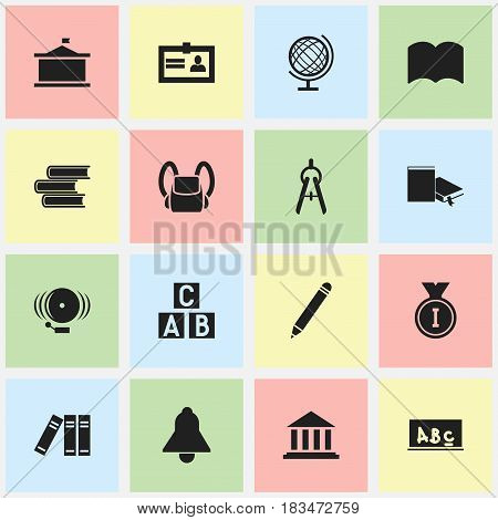 Set Of 16 Editable Science Icons. Includes Symbols Such As Bookmark, Ring, Alphabet Cube And More. Can Be Used For Web, Mobile, UI And Infographic Design.