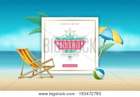 Summer Sale banner online shopping on beach background, for magazines and advertising posters, website headers, vouchers. Vector illustration. Sale discount badge or label typographic design.