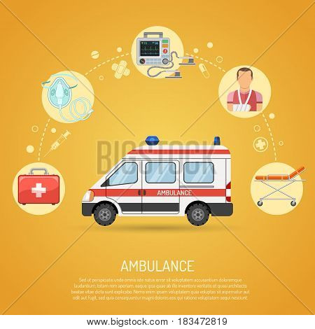 medical emergency ambulance concept with flat icons car, defibrillator, stretcher, patient. isolated vector illustration