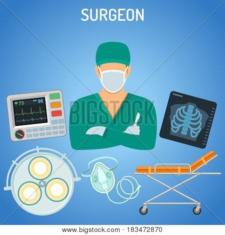medical concept with surgeon, scalpel, x-ray and stretcher flat icons. isolated vector illustration