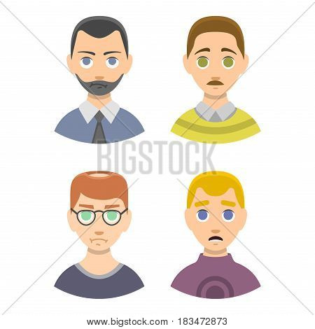 Caucasian depressed male head stressed character portrait loneliness thoughtful guy vecor illustration. Expression face pain man concept disappointed worried handsome look.