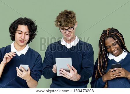 Group of students are using digital device