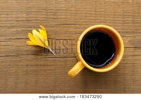 Yellow flower and cup of black coffee on an old wooden surface top view / crocus coffee pause