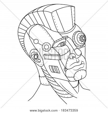 Steam punk style man head. Robot girl. Coloring book vector illustration.
