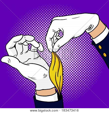 Hands of magician pop art style hand drawn vector illustration. Comic book style imitation. Vintage retro style. Conceptual illustration