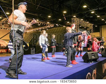 St. Petersburg Russia - 15 April, Dancing on stage,15 April, 2017. International Motor Show IMIS-2017 in Expoforurum. Dance show group of teenagers in the style of hip-hop.