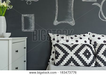 Cushions On The Background Of Wall
