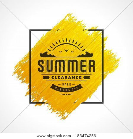 Summer Sale banner online shopping on grunge brush paint watercolor texture background, for advertising posters, website and vouchers. Vector illustration. Discount badge or label typographic design.
