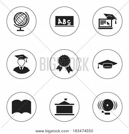 Set Of 9 Editable Graduation Icons. Includes Symbols Such As Victory Medallion, School Board, Ring And More. Can Be Used For Web, Mobile, UI And Infographic Design.