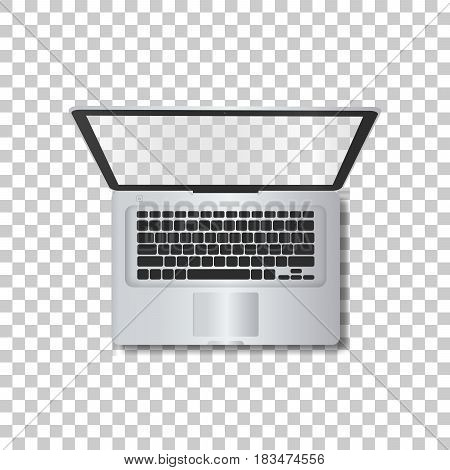 Laptop without screen on transparent background. Template framework. Insert your picture. Vector illustration.