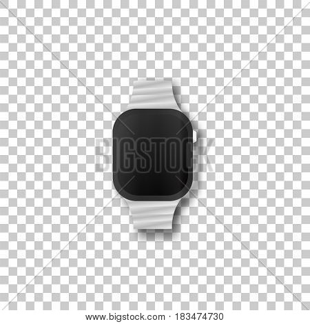 Electronic watch on transparent background. Template framework. Insert your picture. Vector illustration.