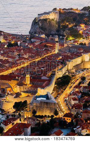 Top view of the old part of Dubrovnik in the evening with illumination.