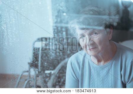 Sad, Senior Disabled Woman