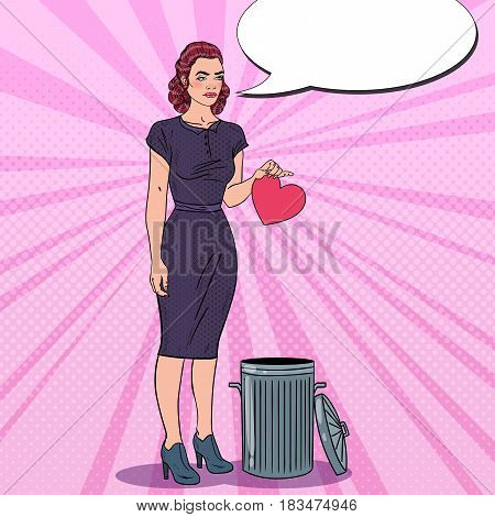Unhappy Young Woman Throws Her Heart in the Trash. Unrequited Love. Pop Art Vector illustration