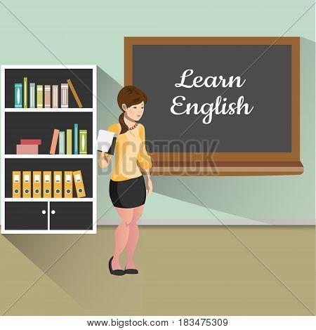 Teacher with board. Learn English. Vector illustration