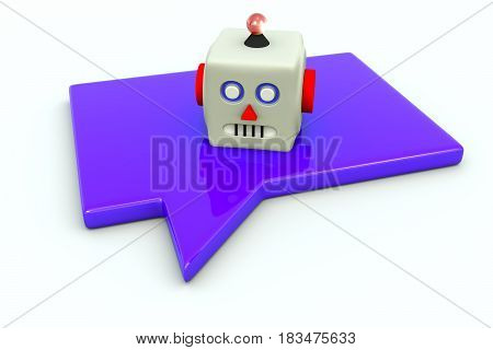 CHATBOT head message white background 3d illustration