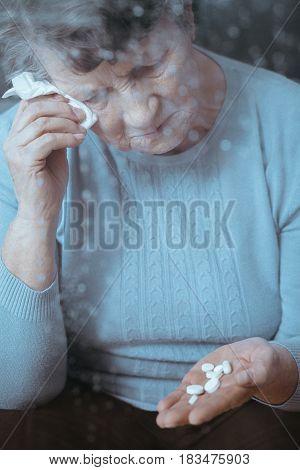 Ill Senior Woman Crying