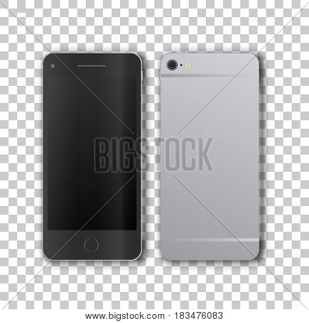 Front and back view of phone on transparent background.. Template framework. Insert your picture. Vector illustration.