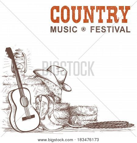 Country Music Background With Guitar And American Cowboy Shoes And Western Hat