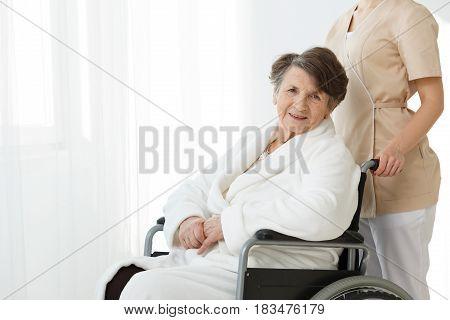 Elderly Woman On Wheelchair