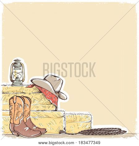 Cowboy Background With Western Boots And West Hat.