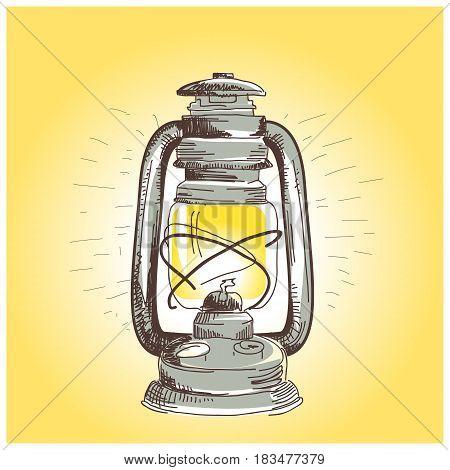 Hand draw oil lantern lamp burning illustration.