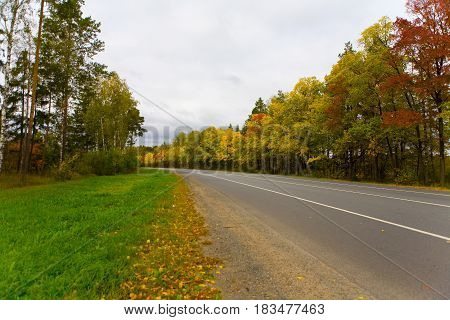 Road of the middle zone of Russia in autumn. Along the road there are trees with colorful leaves.
