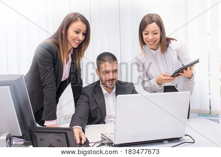 Business People Working In Group In The Office.young Business People Working On Lap Top. Business An