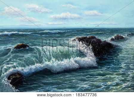 Original oil painting showing waves in ocean or sea on canvas. Modern Impressionism