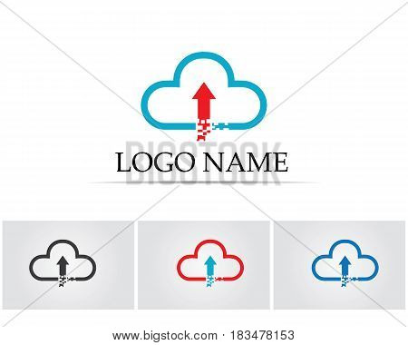 Clouds server upload data logo and symbols