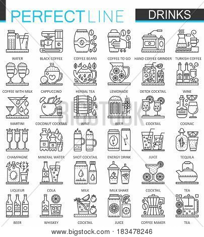 Drinks outline concept symbols. Perfect thin line icons. Alcohol, tea and coffee modern linear style illustrations set
