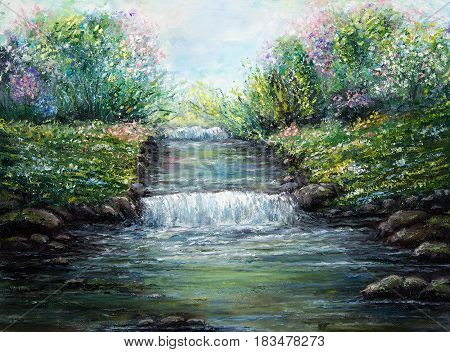 Original oil painting showing spring river and flowers on canvas. Modern Impressionism