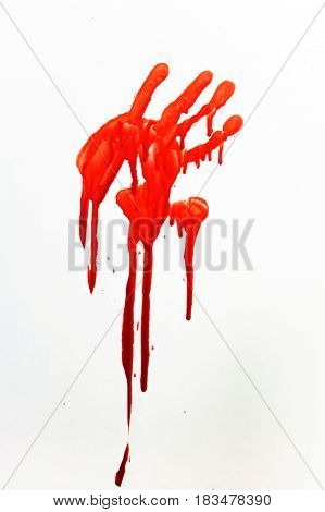 Thriller. A human handprint stained with blood.