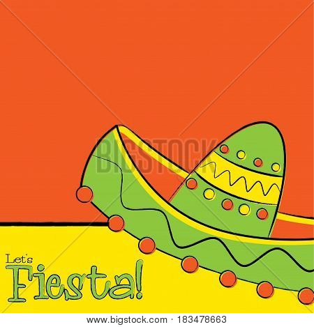 Funky Hand Drawn Sombrero Fiesta Card In Vector Format.