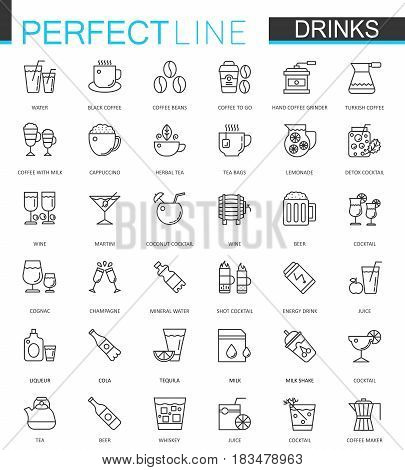 Drinks thin line web icons set. Drink Outline stroke icon design