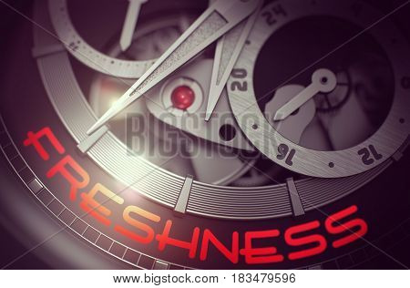 Freshness - Fashion Watch Inside Mechanism Close View with Inscription on the Face. Business Concept with Lens Flare. 3D Rendering.