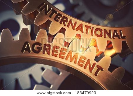 International Agreement on Mechanism of Golden Metallic Gears with Lens Flare. International Agreement on the Mechanism of Golden Metallic Gears with Glow Effect. 3D Rendering.