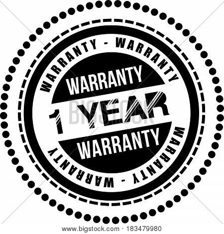 1 years warranty label icon vector background