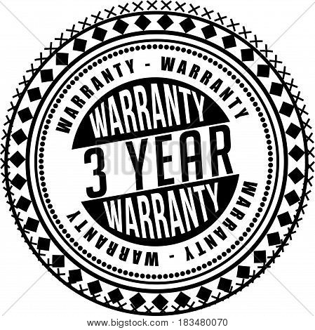 3 years warranty label icon vector background
