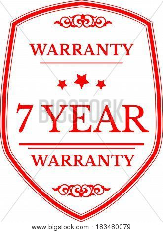 7 years warranty label icon vector background
