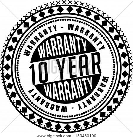 10 years warranty label icon vector background