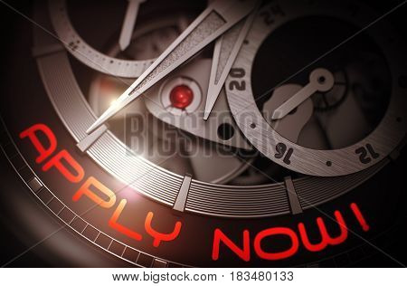 Old Pocket Watch with Apply Now Inscription on Face. Chronograph Closeup. Work Concept with Glowing Light Effect. 3D Rendering.