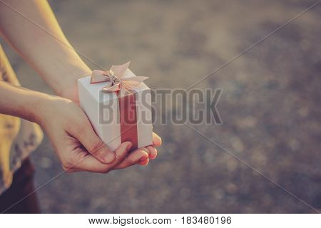 Close up shot of female hands holding a small gift wrapped with pink ribbon. Small gift in the hands  / Vintage concept